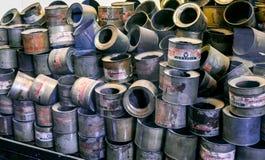 奥斯威辛/波兰- 02 15 2018年:空的罐头 免版税库存图片