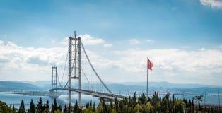 奥斯曼Gazi桥梁在Kocaeli,土耳其 免版税图库摄影