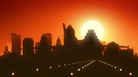 奥斯汀得克萨斯美国美国地平线日出着陆 库存例证