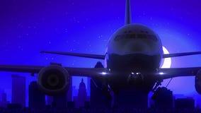 奥斯汀得克萨斯美国美国飞机离开月亮夜蓝色地平线旅行 皇族释放例证