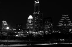 奥斯汀得克萨斯黑暗的夜都市风景黑白照片 免版税图库摄影