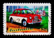 奥斯汀持枪骑兵模型1958年,澳大利亚经典汽车serie,大约1997年 库存图片