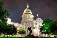 奥斯汀,得克萨斯资本大厦在晚上 免版税库存图片