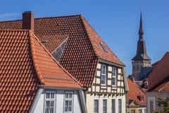 奥斯纳布吕克的历史中心的都市风景 免版税库存图片