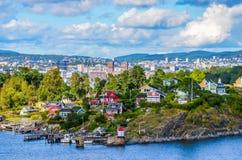 奥斯陆一个城市在海湾 免版税库存图片