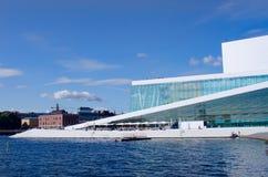 奥斯陆从海湾的歌剧视图 免版税库存照片