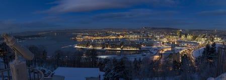 奥斯陆地平线冬天早晨 库存图片
