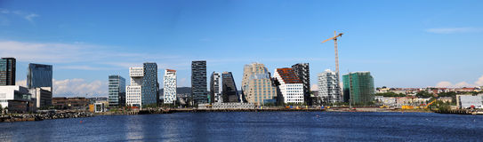 奥斯陆地平线和建筑全景 免版税库存图片