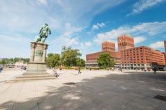奥斯陆市政厅广场 免版税库存照片