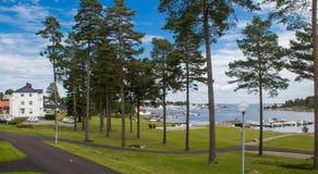 奥斯陆海湾的看法 免版税图库摄影