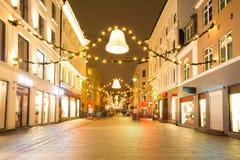 奥斯陆街市在晚上 库存图片