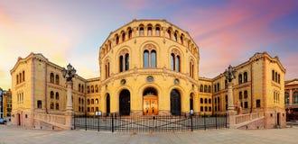 奥斯陆议会-全景 免版税库存照片