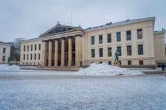 奥斯陆,挪威- 2018年3月, 26日:王宫的室外看法,在19世纪的前期安装了 免版税图库摄影