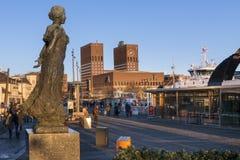 奥斯陆Radhuset (市政厅),挪威看法  免版税库存照片