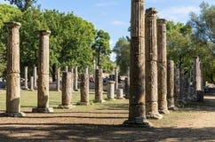 奥林匹亚,希腊- 2017年10月31日:古老奥林匹亚,伯罗奔尼撒半岛,希腊的废墟 库存图片