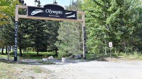 奥林匹克体育复杂标志普莱西德湖美国 库存照片