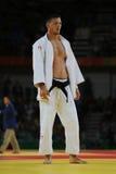 奥林匹克冠军捷克Judoka在胜利以后的卢克斯Krpalek反对葡萄牙人-100 kg比赛的豪尔赫丰塞卡湾 免版税图库摄影
