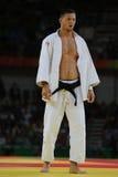 奥林匹克冠军捷克Judoka在胜利以后的卢克斯Krpalek反对葡萄牙人-100 kg比赛的豪尔赫丰塞卡湾 图库摄影