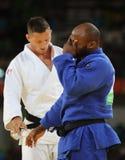 奥林匹克冠军捷克Judoka白色的卢克斯Krpalek在反对葡萄牙的豪尔赫丰塞卡湾的胜利以后 库存照片