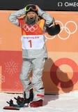 奥林匹克冠军Chloe金庆祝在妇女` s雪板halfpipe决赛的胜利在2018个冬季奥运会 库存照片