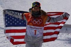 奥林匹克冠军Chloe金庆祝在妇女` s雪板halfpipe决赛的胜利在2018个冬季奥运会 库存图片