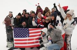 奥林匹克冠军Shaun White庆祝与家庭和朋友的胜利人` s雪板halfpipe决赛的在2018奥林匹克 免版税图库摄影