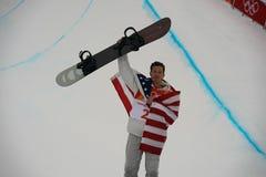 奥林匹克冠军Shaun White庆祝在人` s雪板halfpipe决赛的胜利在2018个冬季奥运会 免版税图库摄影