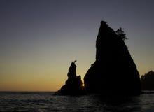 奥林匹克国家公园海滩日落 免版税库存照片