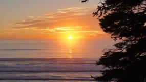奥林匹克国家公园,美国,华盛顿附近10月03th日2014年-在红宝石海滩的日落在西雅图- 图库摄影