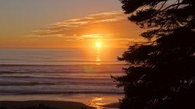 奥林匹克国家公园,美国,华盛顿附近10月03th日2014年-在红宝石海滩的日落在西雅图- 库存照片