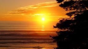 奥林匹克国家公园,美国,华盛顿附近10月03th日2014年-在红宝石海滩的日落在西雅图- 免版税库存图片