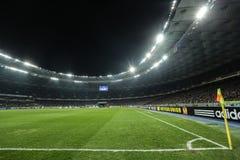 奥林匹克在UEFA欧罗巴16在发电机和埃弗顿之间的秒腿比赛同盟回合的安全委员会体育场全景  图库摄影
