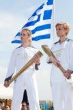 奥林匹克塞萨罗尼基火炬欢迎 免版税库存图片