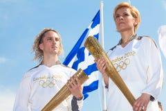 奥林匹克塞萨罗尼基火炬欢迎 库存图片