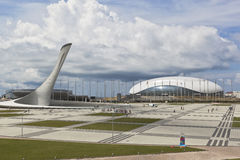 奥林匹克正方形的看法在索契奥林匹克公园 库存照片