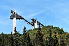 奥林匹克滑雪跳板普莱西德湖美国9月 库存照片
