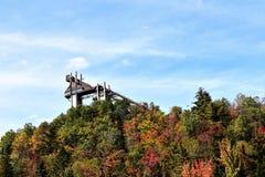 奥林匹克滑雪跳板普莱西德湖美国9月 图库摄影