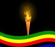 奥林匹克火炬和旗子 免版税库存图片