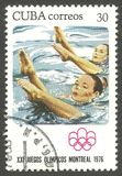 奥林匹克蒙特利尔,花样游泳 库存照片