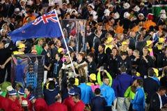 奥林匹克队新西兰前进了入里约2016奥林匹克开幕式在马拉卡纳体育场在里约热内卢 图库摄影