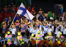 奥林匹克队芬兰前进了入里约2016奥林匹克开幕式 图库摄影
