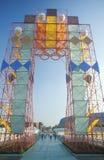 奥林匹克陈列的访客在博览会公园,洛杉矶,加利福尼亚 免版税图库摄影