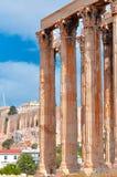 奥林山宙斯和上城寺庙有帕台农神庙的 免版税库存照片
