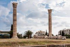 奥林山宙斯雅典寺庙  免版税库存照片