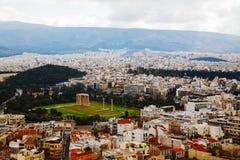 奥林山宙斯鸟瞰图寺庙在雅典 免版税库存照片