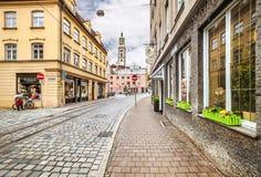 奥格斯堡,德国古镇的中心  免版税库存照片