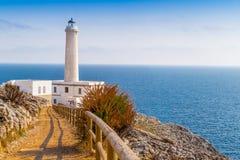 奥特朗托海角灯塔在意大利 免版税库存图片