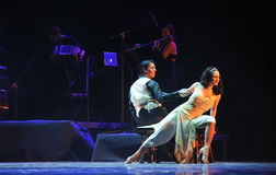 奥秘探戈舞蹈戏曲的夫人坐的这身分 免版税图库摄影