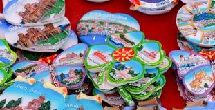 从奥赫里德和Ohrid湖,马其顿的纪念品 奥赫里德是在巴尔干的知名的旅游目的地 图库摄影