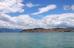 奥赫里德市和湖风景马其顿 免版税库存照片